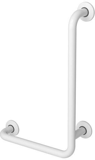 Uchwyt do łazienki dla niepełnosprawnych kątowy prawy fi 32 60 x 40 cm stalowy biały Faneco