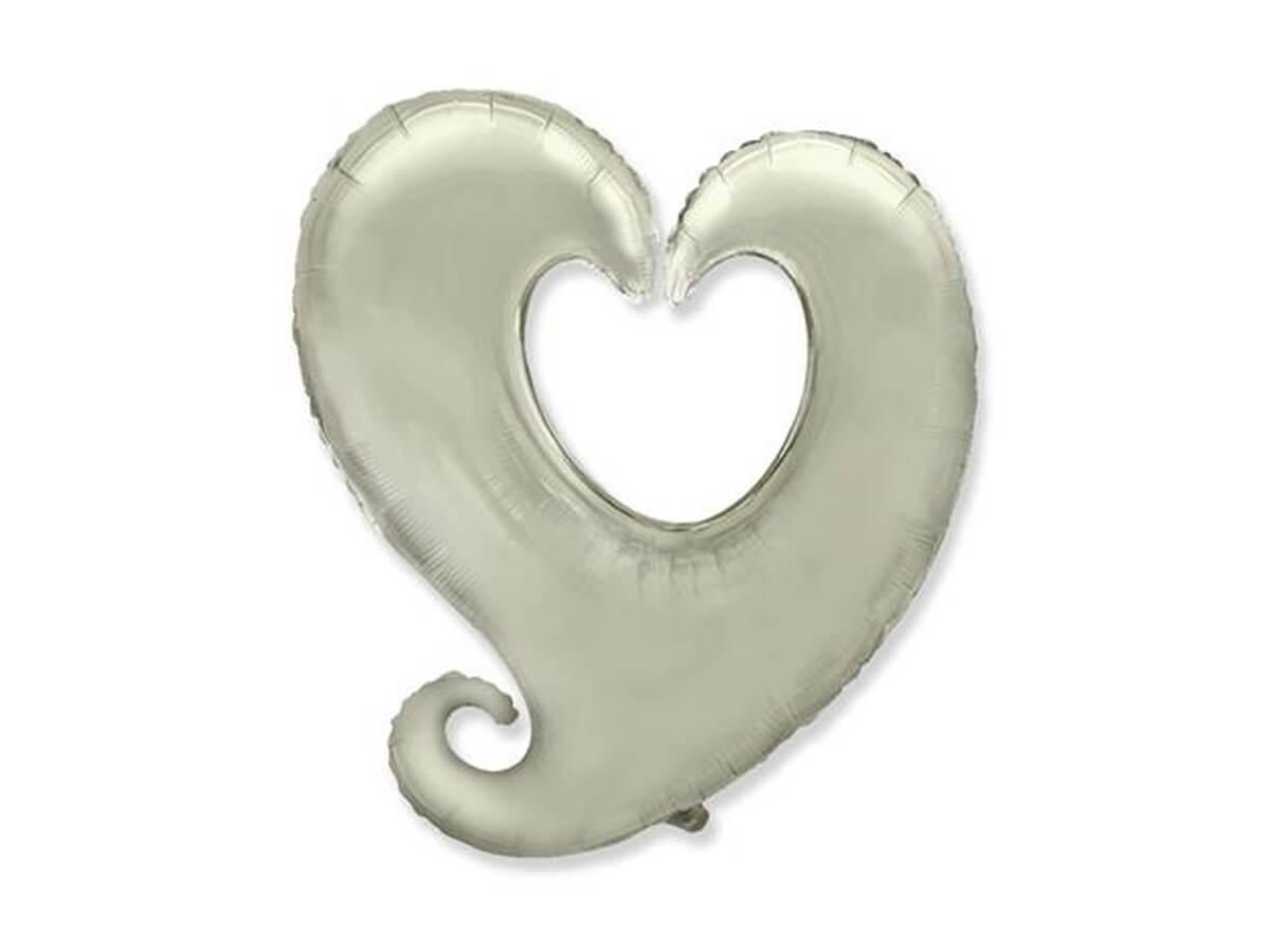 Balon foliowy serce srebrne - 60 cm - 1 szt.