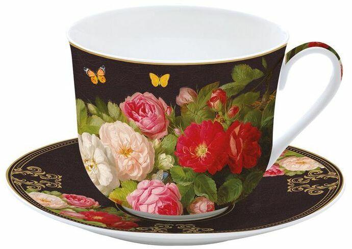 DUŻA PORCELANOWA FILIŻANKA Z TALERZYKIEM Victorian Garden - Kwiaty