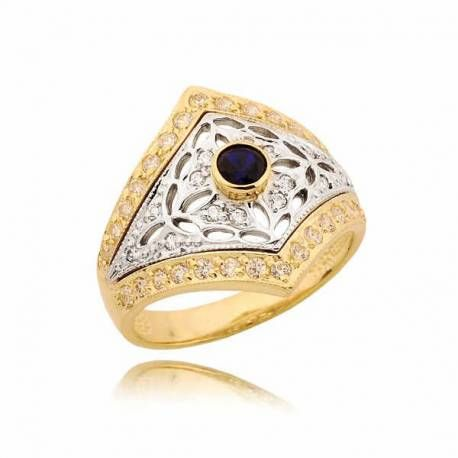 Bogato zdobiony pierścionek z szafiirem i cyrkoniami