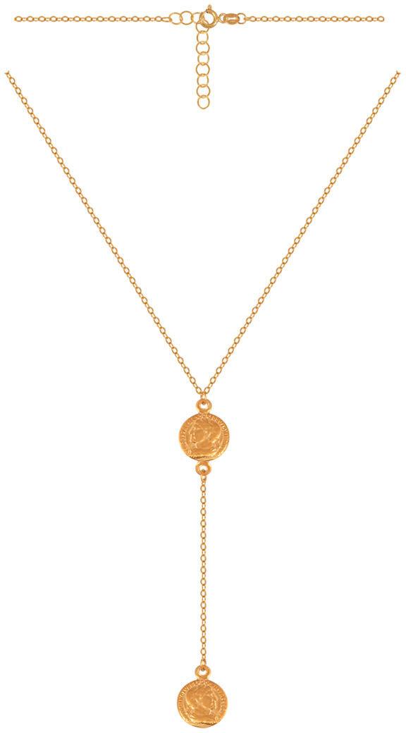 Złoty naszyjnik 585 naszyjnik krawatka z doczepionymi elementami robionymi na wzór starożytnych rzym