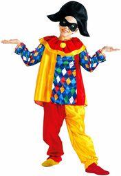 Widmann 38605 - kostium dziecięcy Harlekin, górna część z kołnierzem, spodnie, czapka, maska, klaun, ptak zabawny, podwórze, karnawał, impreza tematyczna