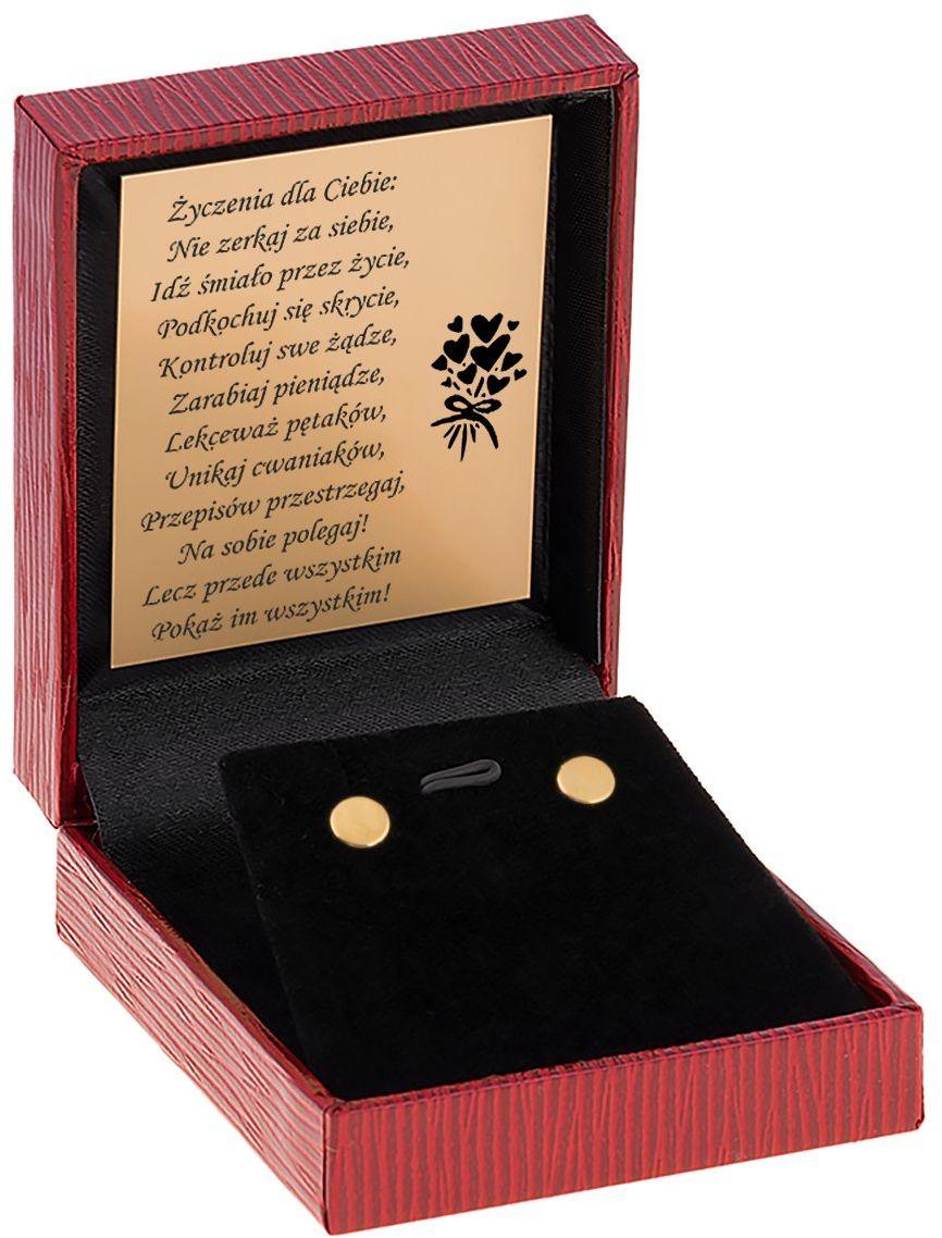 Złote kolczyki okrągłe blaszki sztyft złoto 585 Dedykacja