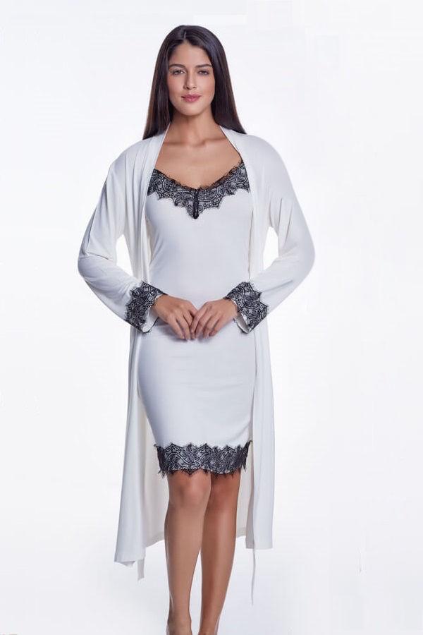 Koszula nocna damska LORA ze szlafrokiem Kremowy