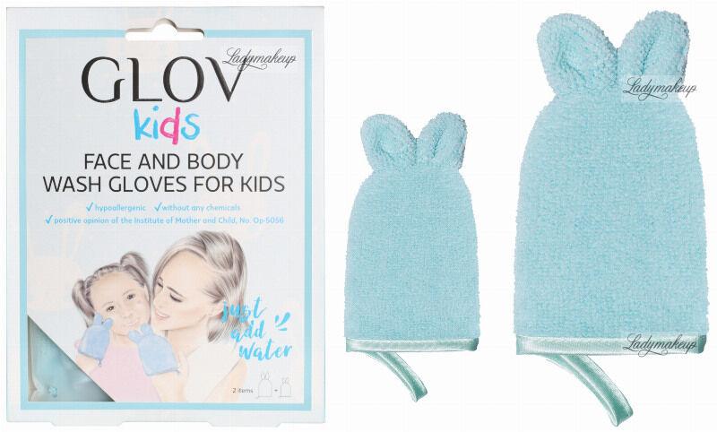 GLOV - Kids - FACE AND BODY WASH GLOVES FOR KIDS - Zestaw 2 rękawic zmywających zabrudzenia do twarzy i ciała dziecka - Bouncy Blue