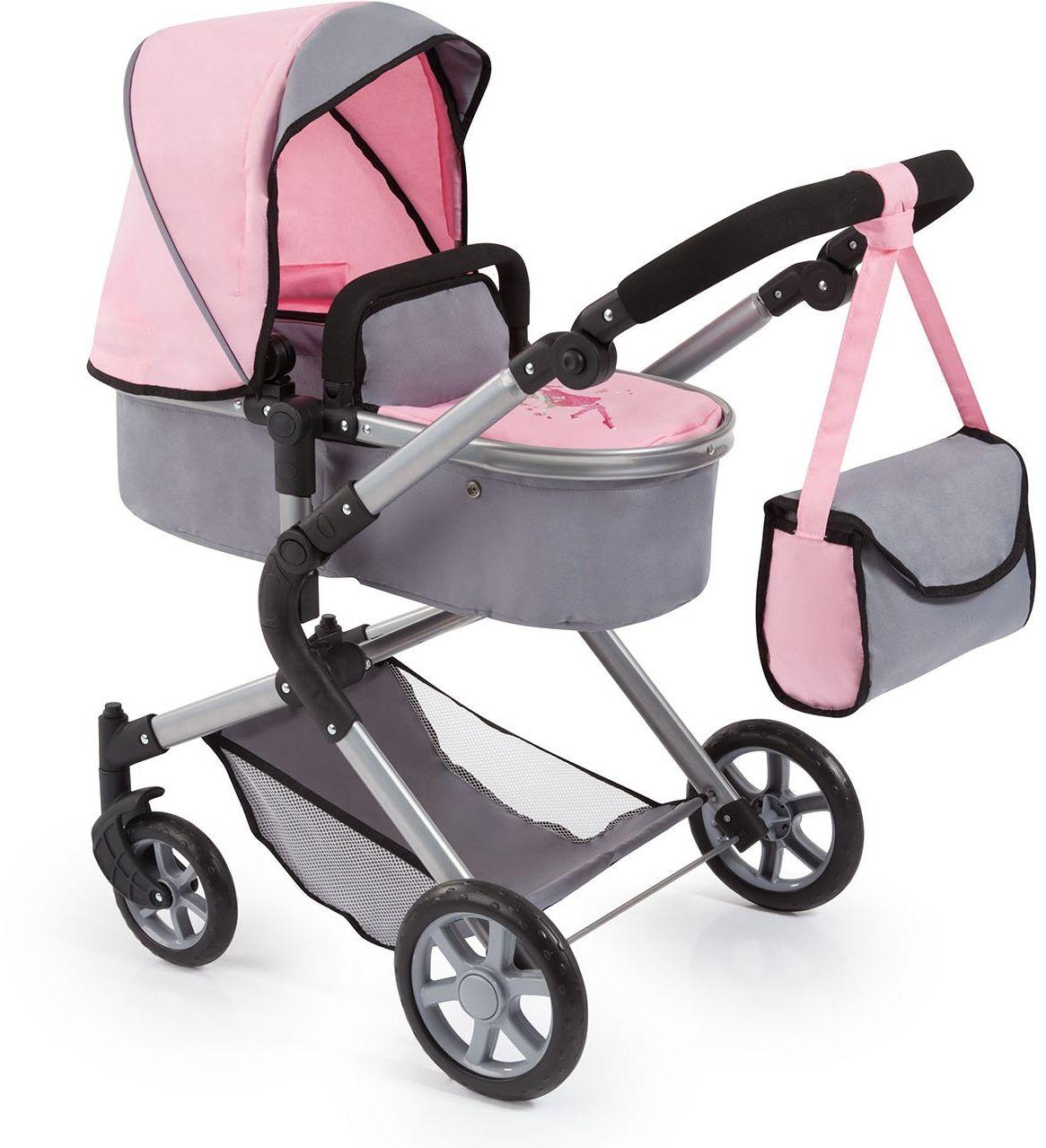 Bayer Design 18108AA City Neo wózek dla lalek z torbą do przewijania i koszykiem na zakupy / możliwość przekształcenia w samochód sportowy / regulacja wysokości / wzór: wróżka / szary, różowy