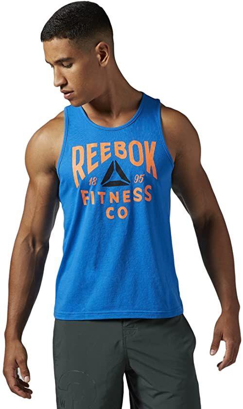 Reebok Fitness Company Graphic Tank koszulka męska bez rękawów, Blue Sport, M