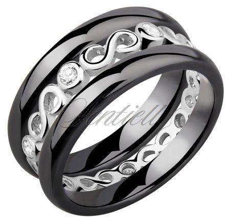 Dwa czarne pierścionki ceramiczne i pierścionek srebrny z cyrkoniami - nieskończoność - czarny