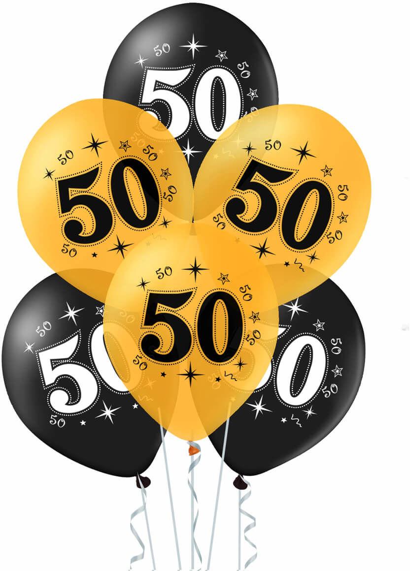 Balony lateksowe z nadrukiem na pięćdziesiątkę - 30 cm - 10 szt.