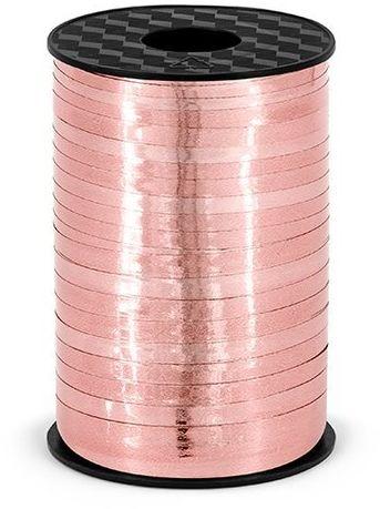 Wstążka plastikowa metalizowana do balonów różowo złota 5mm 225m PRM5-019R