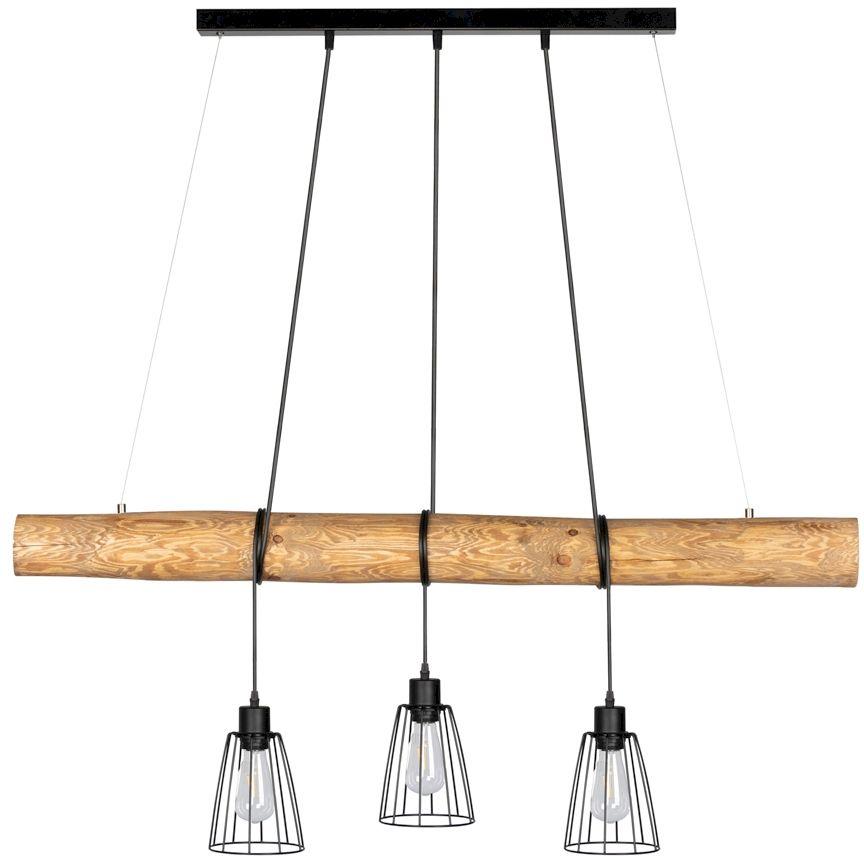 Spot Light 69204304 Trabo Long lampa wisząca drewno sosna bejcowana klosze metalowe czarny 3xE27 60W 115cm