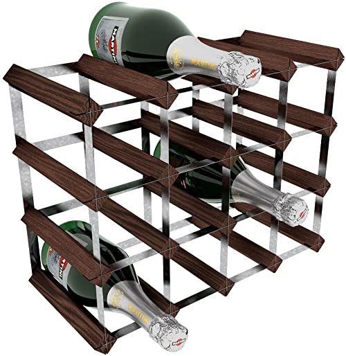 RTA 16 butelek tradycyjny zestaw stojaków na wino - sosna mahoniowa (FSC), wymiary zmontowane: 42. 6 x 32. 9 x 22. 3 cm (szerokość x wysokość x głębokość)