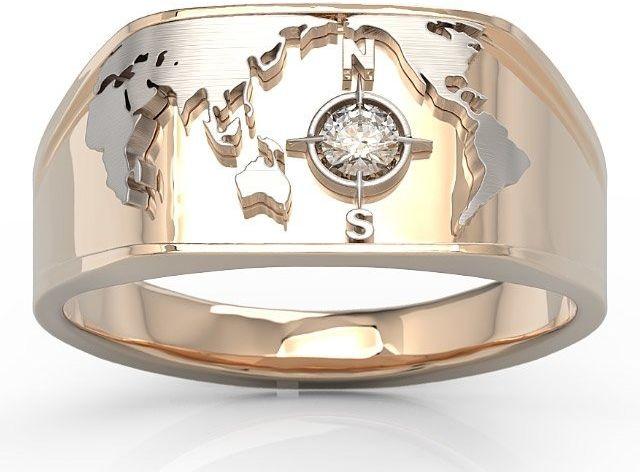 Sygnet morski z różowego i białego złota z brylantem sj-1410pb