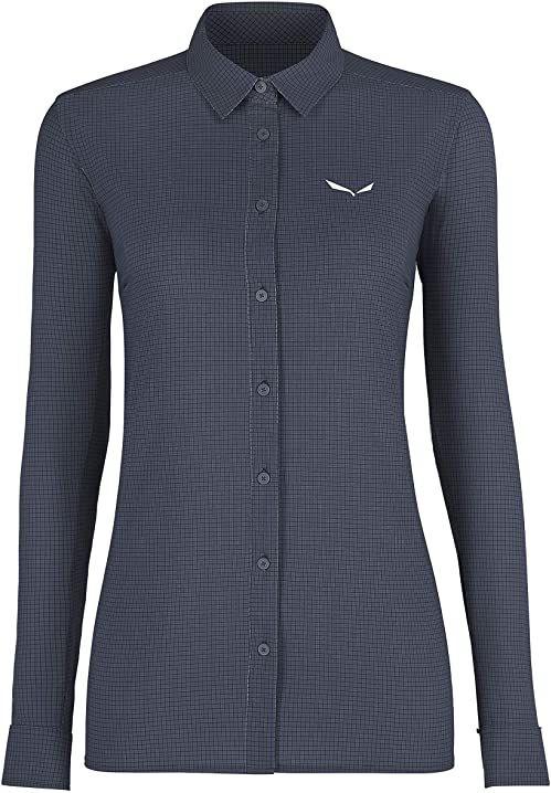 Salewa Puez Minicheck2 Dry W L/S SRT bluzki i T-shirty, Ombre Blue, 50/44