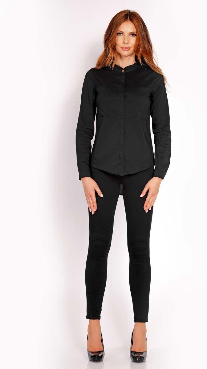 Czarna koszula z niską stójką