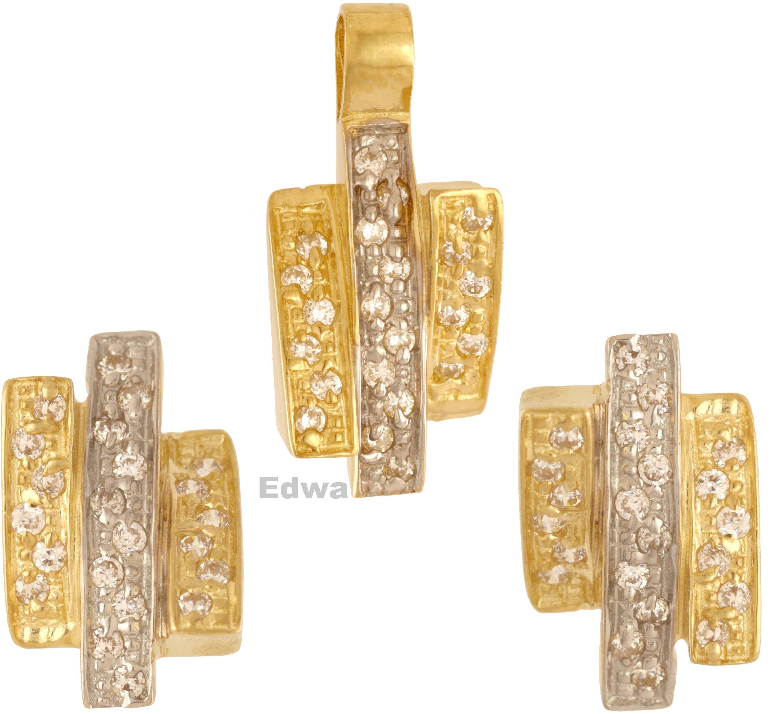 Komplet kolczyki złote z zawieszką pr.585
