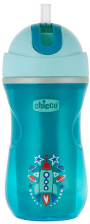 Chicco Kubek Niekapek Termiczny ze Słomką Chłopiec 14m+ Chicco Kubek Termiczny dla Chłopca 266 ml
