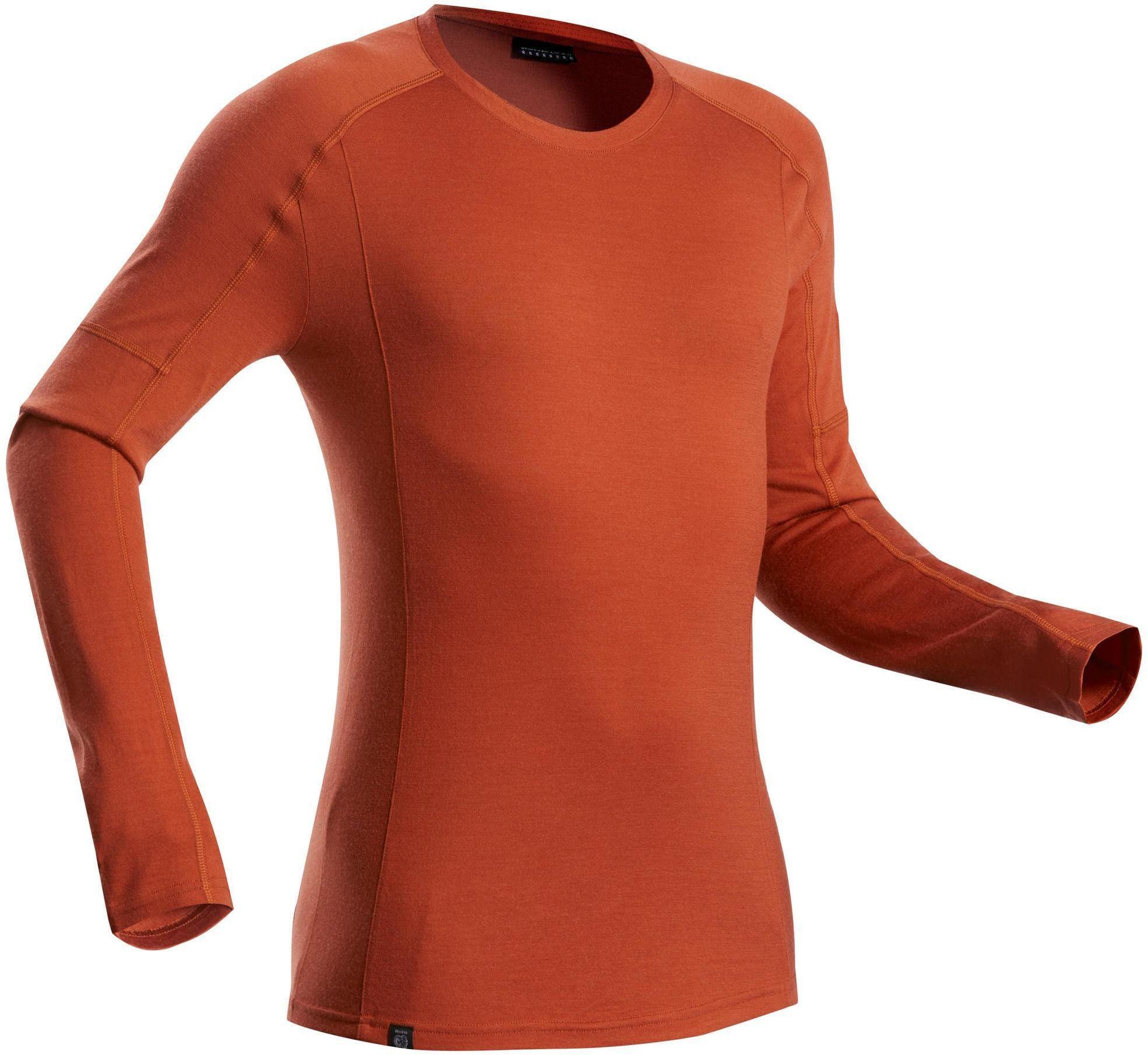 Koszulka trekkingowa z długim rękawem - TREK 500 MERINO - męska