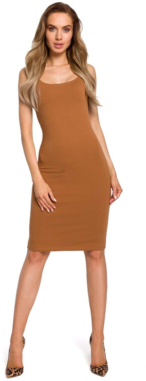 Ołówkowa sukienka na ramiączkach - kamelowa
