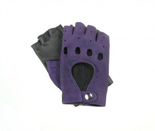 Rękawiczki całuski bez palców, czarne z fioletem