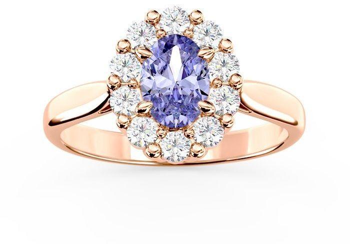Pierścionek zaręczynowy z tanzanitem i diamentami bp-57p