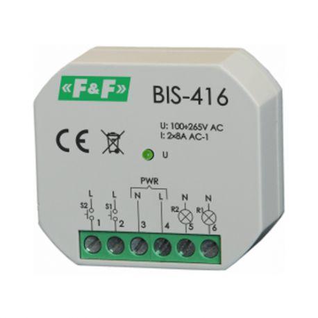 Przekaźnik bistab impuls BIS-416 włącz-wyłącz 2kanał. 265V 2xmax8A 2xNO F&F 8275