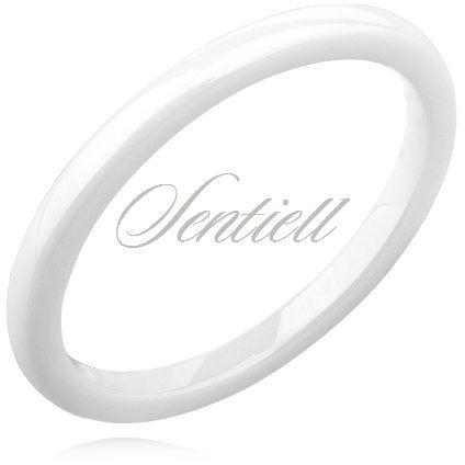 Biały pierścionek ceramiczny 2mm - biały