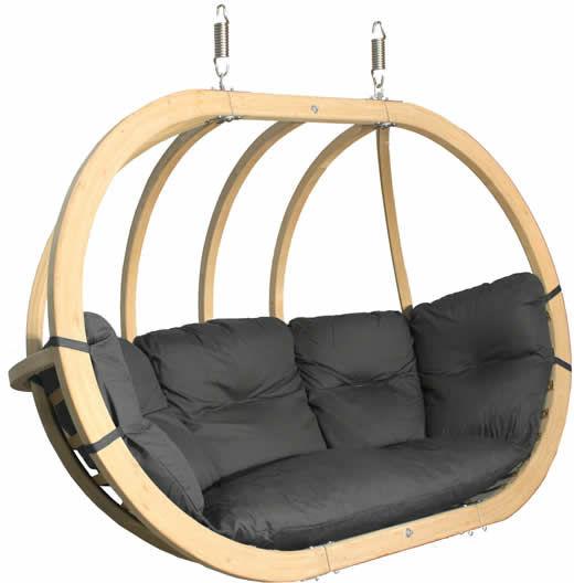 Fotel hamakowy drewniany, grafitowy Swing Chair Double (3)