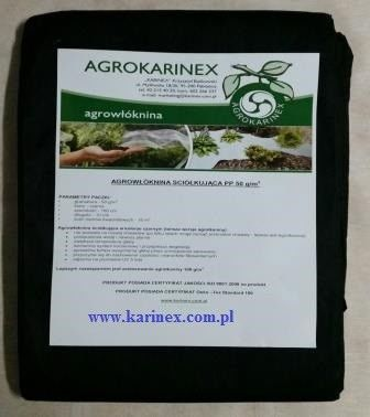 Agrowłóknina ściółkująca PP 50 g/m2 czarna 1,6 x 10 mb. Paczka o wadze 0,9 kg.