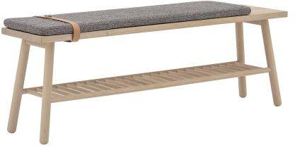 Skandynawska ławeczka drewniana z szarym siedziskiem