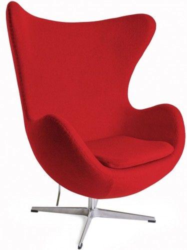 Czerwony Fotel JAJO Wełna Naturalna Inspirowany Projektem Egg Chair