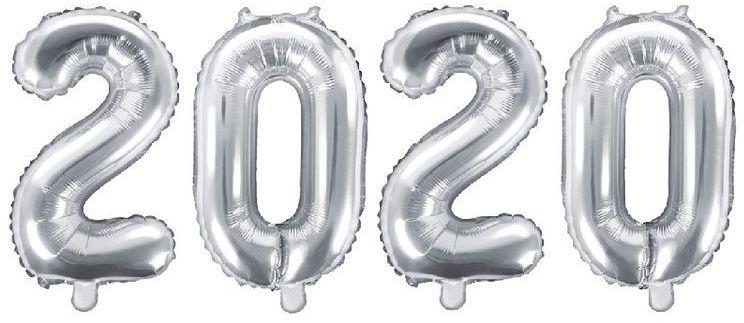 Balony foliowe 2020 srebrne 35cm FB10M-2020-018