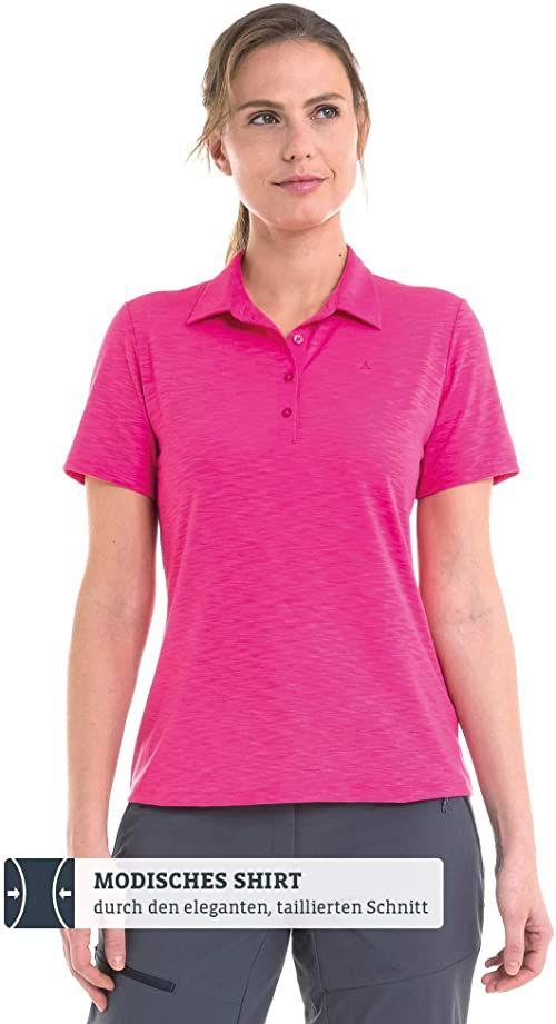 Schöffel damska koszulka polo Capri1, wygodna i taliowana koszulka polo dla kobiet, oddychająca koszulka funkcyjna z systemem Moisture Transport, różowa (fandango pink), 34