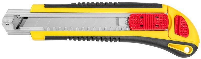 Nóż z ostrzem łamanym 25mm blokada śrubowa metalowe prowadnice korpus z tworzywa 17B490