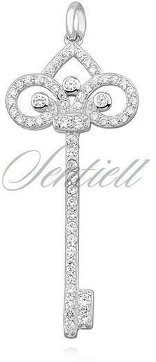 Srebrna zawieszka pr.925 ozdobny kluczyk z cyrkoniamii