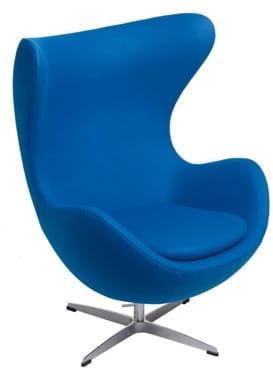 Niebieski Fotel JAJO Wełna Naturalna Insp. Projektem Egg Chair