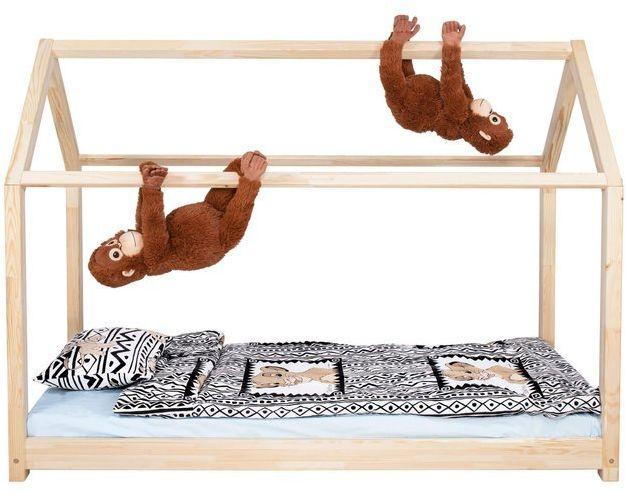 Łóżko dziecięce 160x80cm drewniane łóżeczko ze stelażem domek dla dziecka