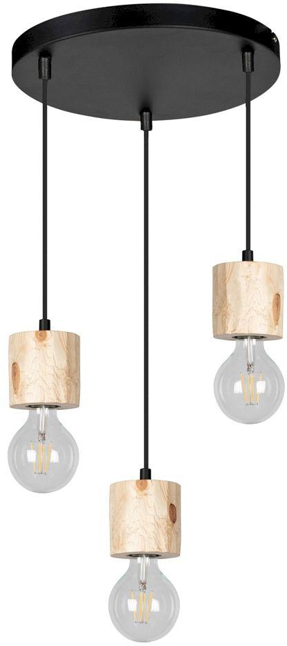 Spot Light 7161350R Pino lampa wisząca industrialna drewno sosna naturalna metal czarny 3xE27 60W 30cm