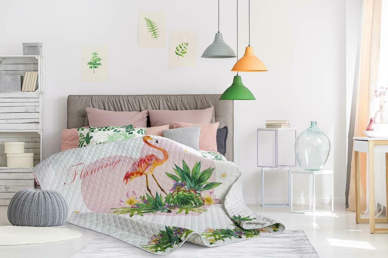 Narzuta dekoracyjna 140x200 Flamingi palmy kwiaty serce biała różowa pomarańczowa zielona Havana młodzieżowa