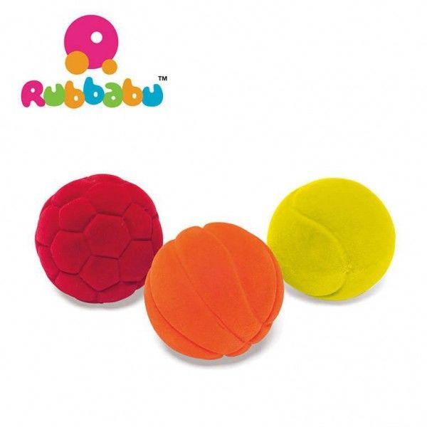 Rubbabu - Zestaw 3 Małych Sensorycznych Piłek Sportowych