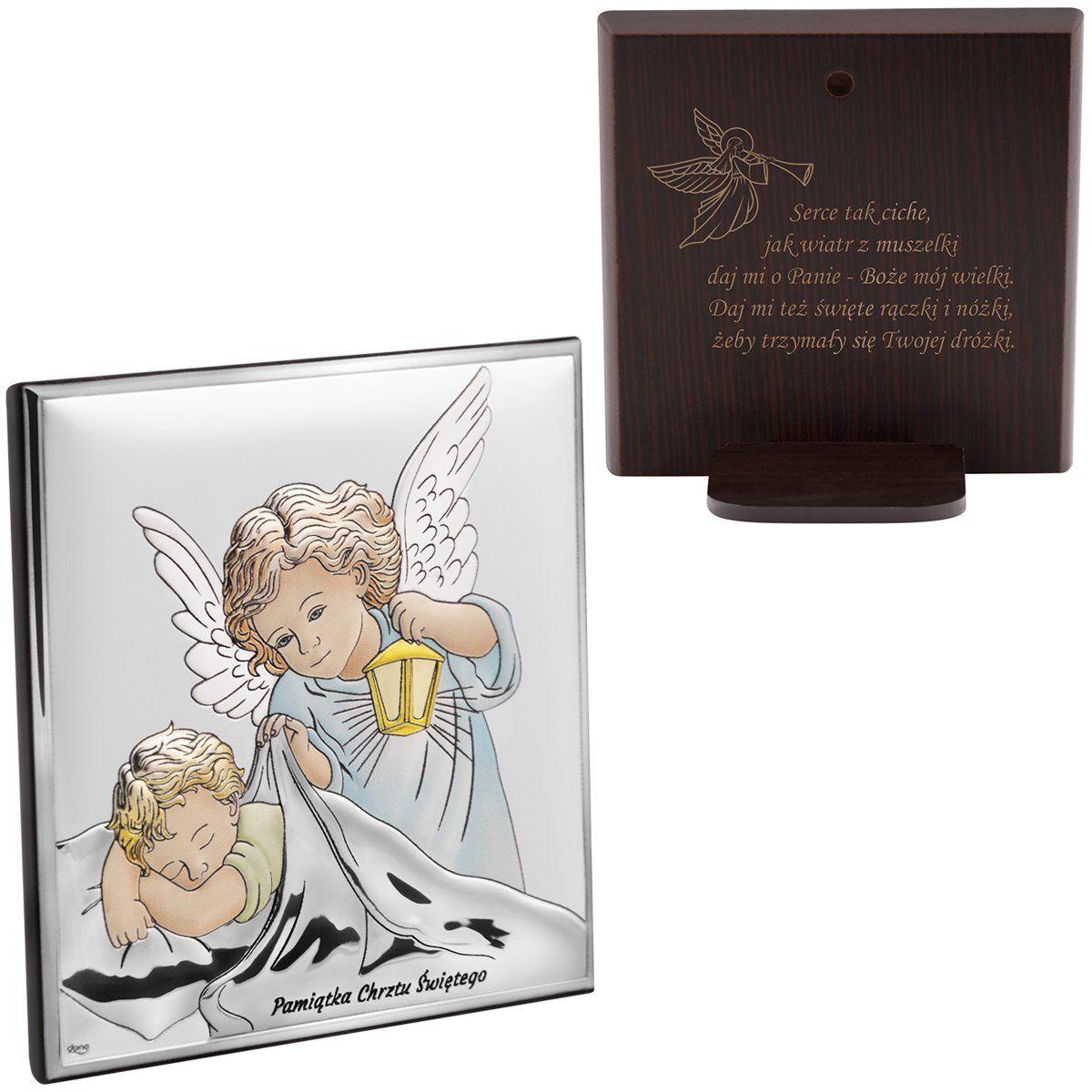 Srebrny obrazek z Aniołem Stróżem kolorowy Pamiątka Chrztu Św. z Grawerem