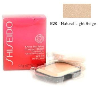 Shiseido Sheer Matifying Compact (Refill) Long-lasting, Oil-free Foundation B20 Natural Light Beige Podkład matujący w kompakcie (wklad) - 9,8g Do każdego zamówienia upominek gratis.