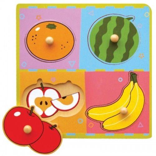 Viga Drewniane Puzzle Owoce Układanka Niespodzianka