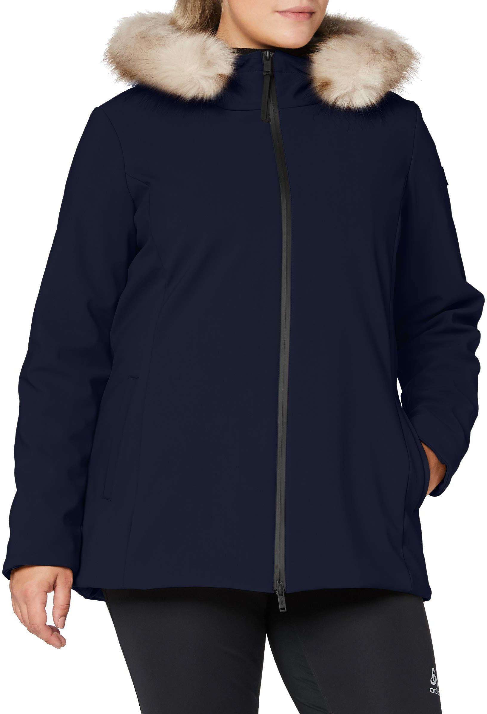 CMP Damska parka Softshell Imbottito Con Cappuccio Eco Fur kurtka niebieski czarny i niebieski 42