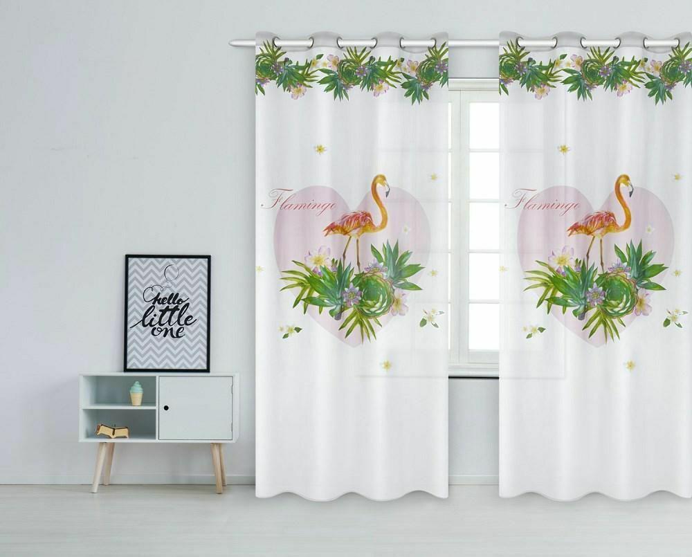 Zasłona gotowa Flamingi 140x250 palmy kwiaty serce biała różowa pomarańczowa zielona na przelotkach młodzieżowa Havana
