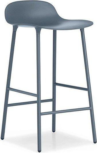 Stołek barowy form 65 cm nogi stalowe niebieski