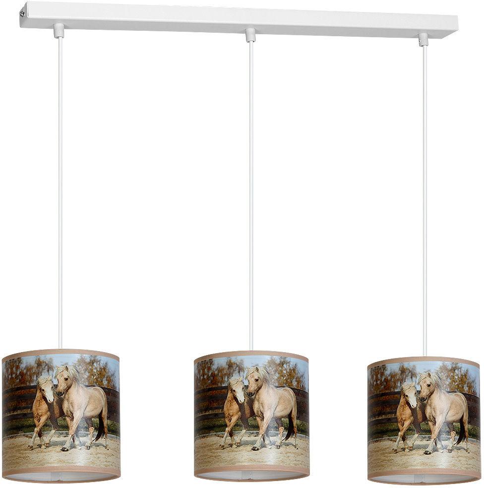 Milagro HORSES MLP848 lampa wisząca metalowa PVC trzy klosze motyw konie 3xE27 65cm