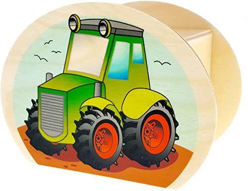 Hess drewniana zabawka 15227 - skarbonka z drewna z kluczem, traktorem, prezent dla dzieci na urodziny, ok. 11,5 x 8,5 x 6,5 cm