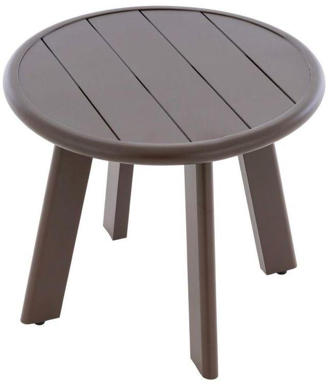 Okrągły aluminiowy stolik, ciemnobrązowy