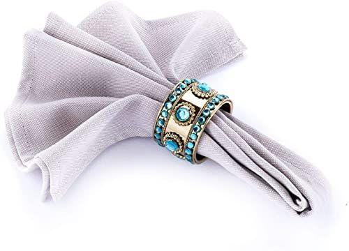 LegendArte lh-021 allacciatovaglioli pierścienie serwetki biżuteria, metal/PCW, niebiesko-zielony/złoty, 19 x 8 x 7 cm, 4 sztuki